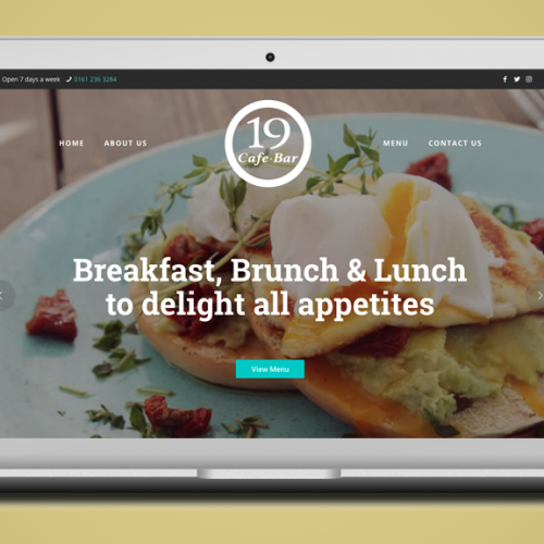 Website design for 19 Cafe Bar